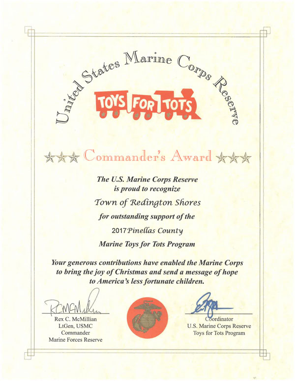 Blank Certificate Toys For Tots : Redington shores receives award for quot toys tots town