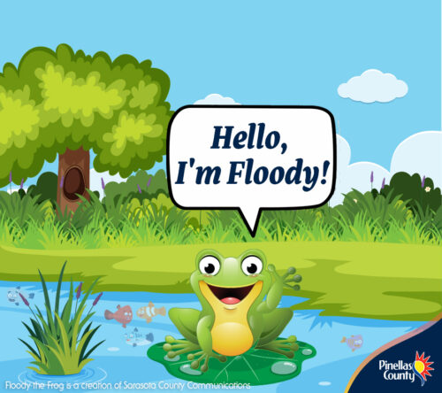 Hi - I'm Floody the Frog and I live in the Florida floodplains! I'm here from Sarasota County to partner with Pinellas County to bring you important information about the  relationship between floodplains and storm surge. And perfect timing because this week is #FloridaFloodAwarenessWeek Visit with me here this week for more exciting information about how you can be Flood Aware! #FloodyTheFrog